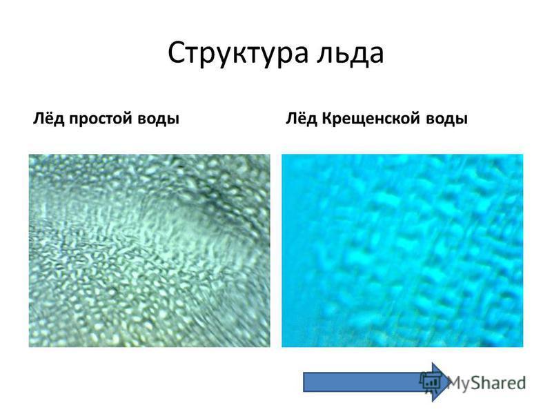Структура льда Лёд простой водыЛёд Крещенской воды