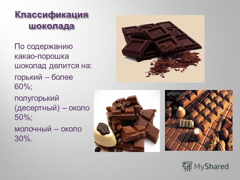 Классификация шоколада По содержанию какао - порошка шоколад делится на : горький – более 60%; полу горький ( десертный ) – около 50%; молочный – около 30%.