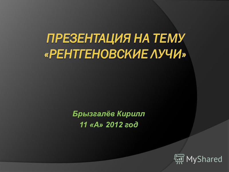 Брызгалёв Кирилл 11 «А» 2012 год