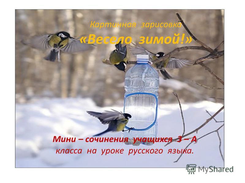 Картинная зарисовка «Весело зимой!» Мини – сочинения учащихся 3 – А класса на уроке русского языка.