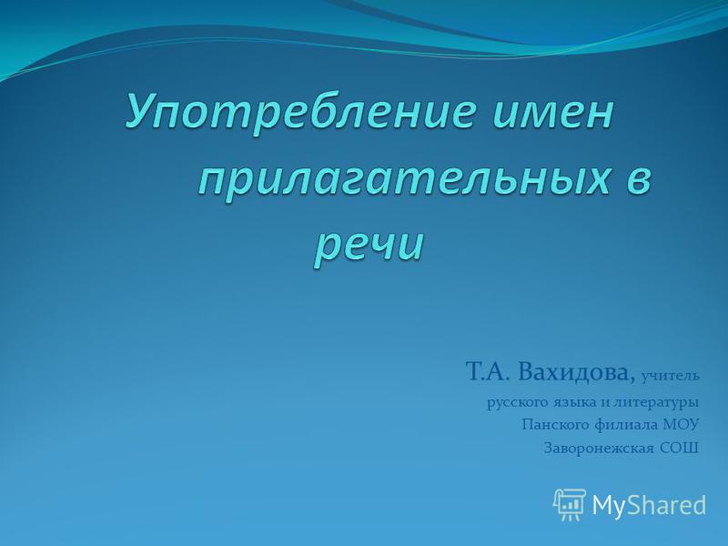 Т.А. Вахидова, учитель русского языка и литературы Панского филиала МОУ Заворонежская СОШ
