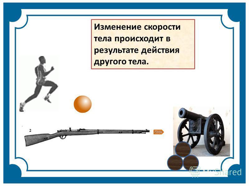 Изменение скорости тела происходит в результате действия другого тела.
