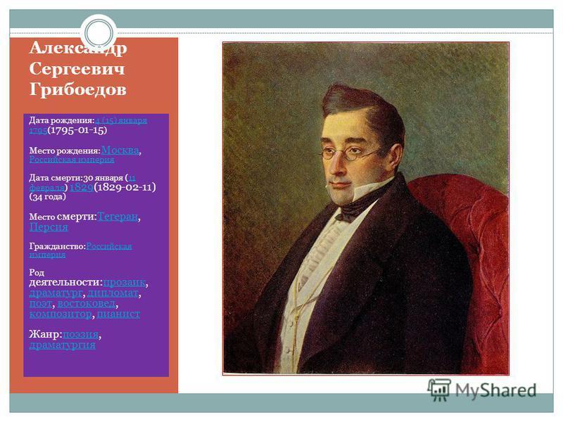 Александр Сергеевич Грибоедов Дата рождения:4 (15) января 1795( 1795-01-15 )4 (15) января 1795 Место рождения: Москва, Российская империя Москва Российская империя Дата смерти:30 января (11 февраля) 1829(1829-02-11) (34 года)11 февраля 1829 Место сме
