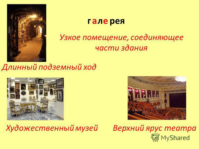 Художественный музей Длинный подземный ход Узкое помещение, соединяющее части здания Верхний ярус театра г л реяае