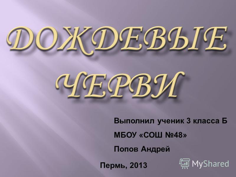 Выполнил ученик 3 класса Б МБОУ «СОШ 48» Попов Андрей Пермь, 2013