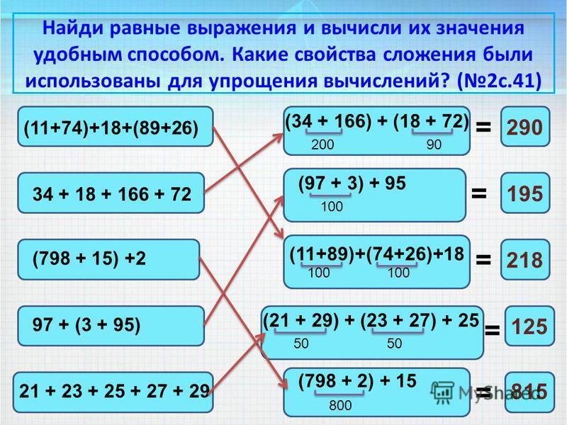 Найди равные выражения и вычисли их значения удобным способом. Какие свойства сложения были использованы для упрощения вычислений? (2 с.41) (11+74)+18+(89+26) (11+89)+(74+26)+18 = = = = = 100 218 34 + 18 + 166 + 72 (34 + 166) + (18 + 72) 20090 290 (7