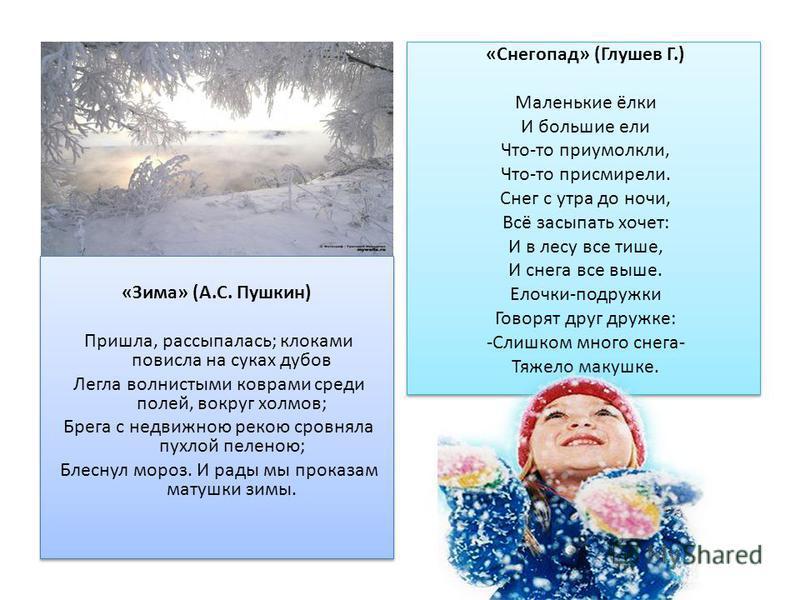 «Зима» (А.С. Пушкин) Пришла, рассыпалась; клоками повисла на суках дубов Легла волнистыми коврами среди полей, вокруг холмов; Брега с недвижною рекою сровняла пухлой пеленою; Блеснул мороз. И рады мы проказам матушки зимы. «Зима» (А.С. Пушкин) Пришла