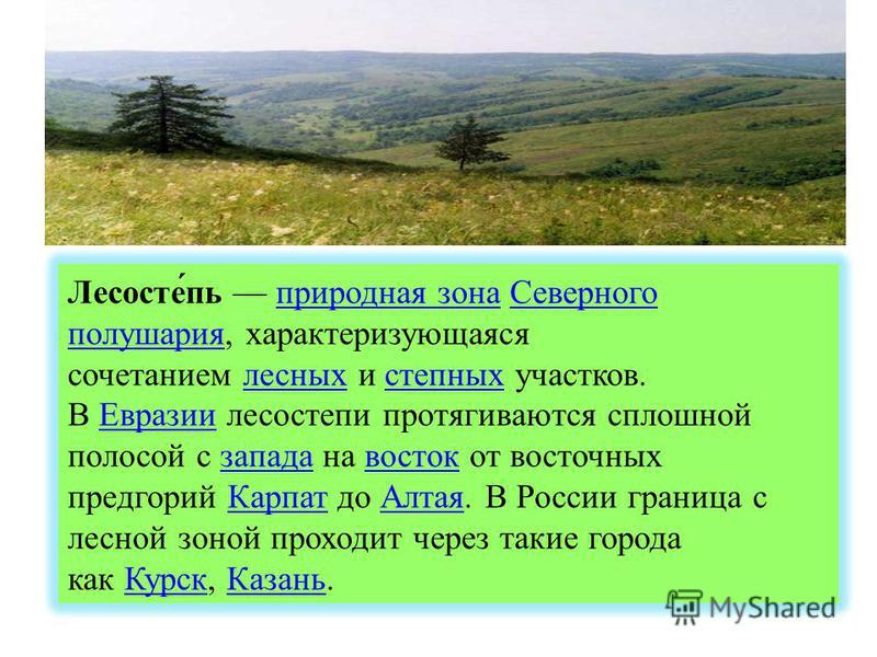 Лесосте́пь природная зона Северного полушария, характеризующаяся сочетанием лесных и степных участков.природная зона Северного полушария лесных степных В Евразии лесостепи протягиваются сплошной полосой с запада на восток от восточных предгорий Карпа