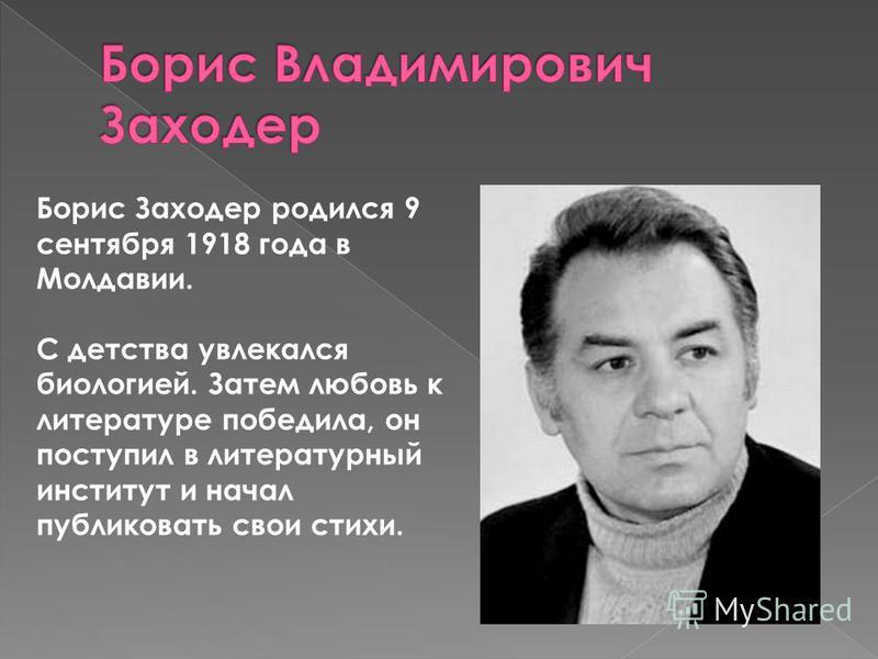 Борис Заходер родился 9 сентября 1918 года в Молдавии. С детства увлекался биологией. Затем любовь к литературе победила, он поступил в литературный институт и начал публиковать свои стихи.