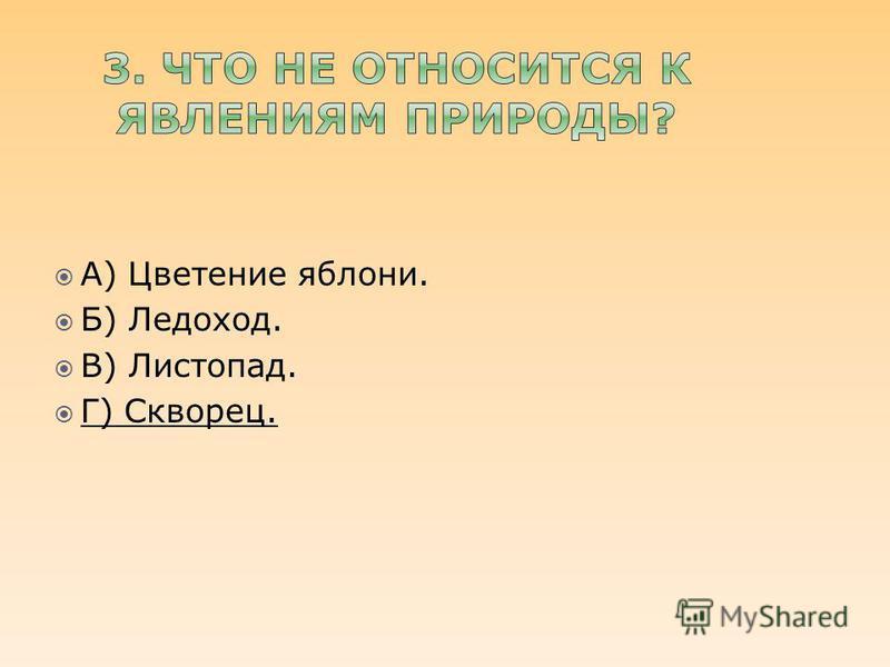 А) Цветение яблони. Б) Ледоход. В) Листопад. Г) Скворец.