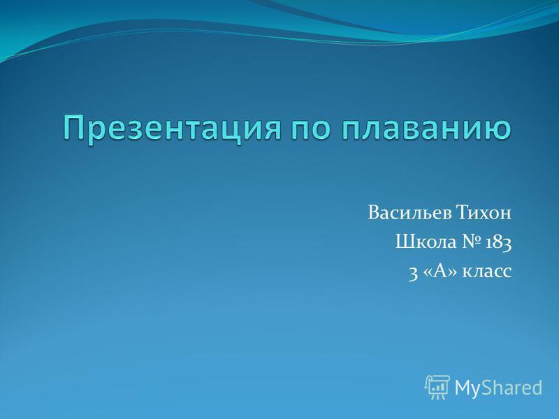 Васильев Тихон Школа 183 3 «А» класс