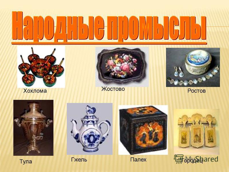 Гжель Жостово Палех Хохлома Городец Тула Ростов
