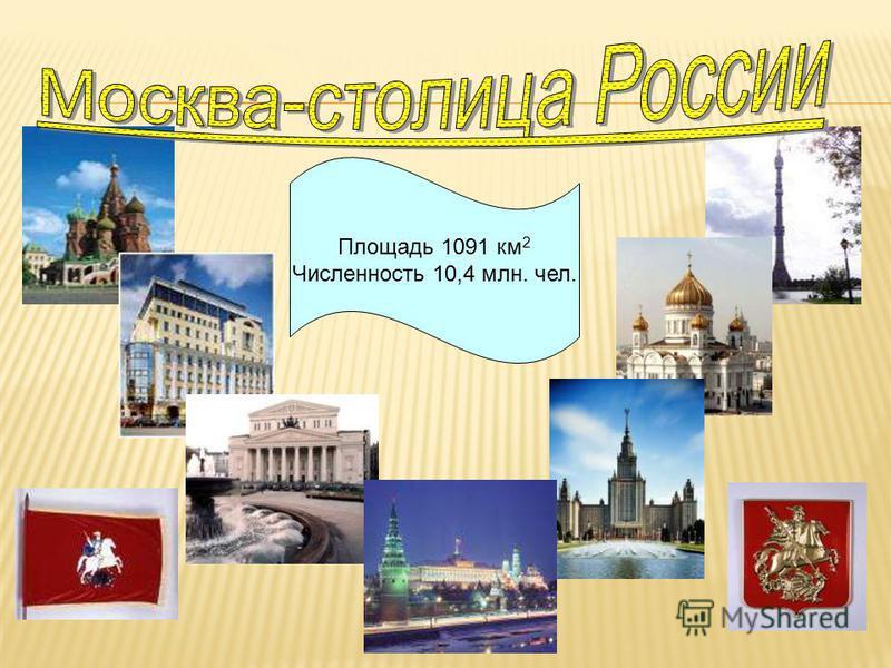 Площадь 1091 км 2 Численность 10,4 млн. чел.