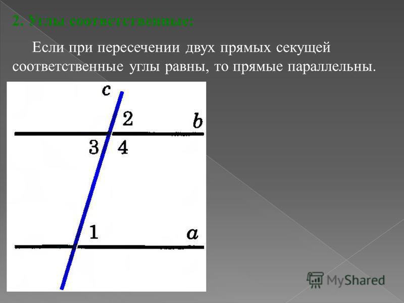 7 2. Углы соответственные: Если при пересечении двух прямых секущей соответственные углы равны, то прямые параллельны.