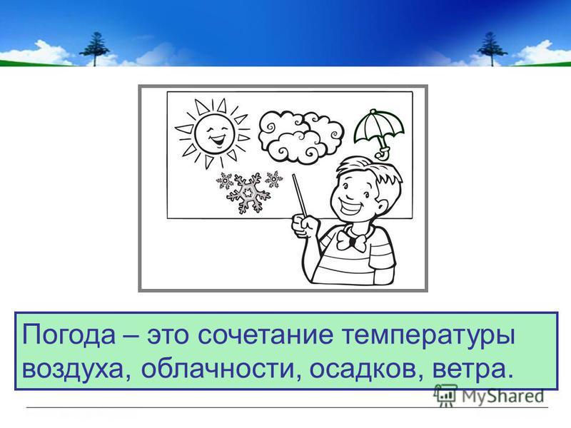 Погода – это сочетание температуры воздуха, облачности, осадуов, ветра.