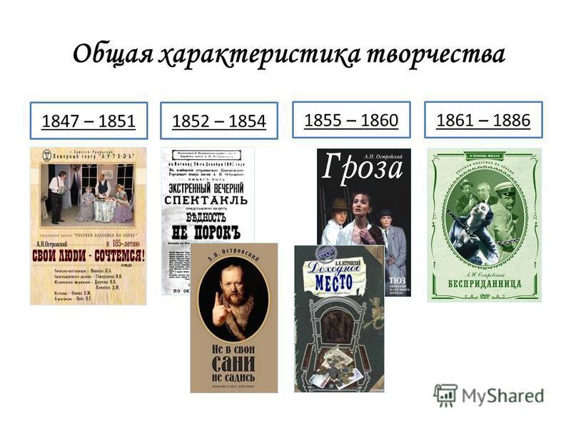 1861 – 18861855 – 1860 Общая характеристика творчества 1847 – 18511852 – 1854