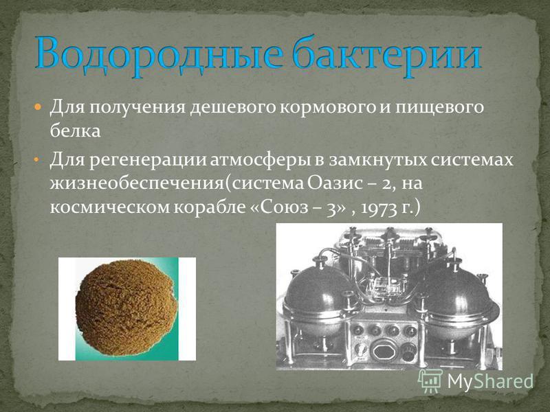 Для получения дешевого кормового и пищевого белка Для регенерации атмосферы в замкнутых системах жизнеобеспечения(система Оазис – 2, на космическом корабле «Союз – 3», 1973 г.)