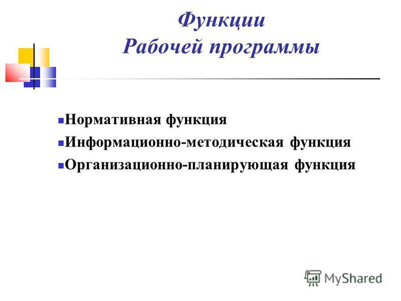 Функции Рабочей программы Нормативная функция Информационно-методическая функция Организационно-планирующая функция