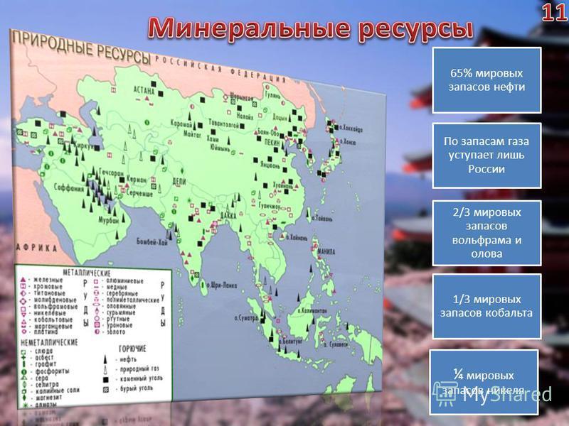 65% мировых запасов нефти По запасам газа уступает лишь России 2/3 мировых запасов вольфрама и олова 1/3 мировых запасов кобальта ¼ мировых запасов никеля