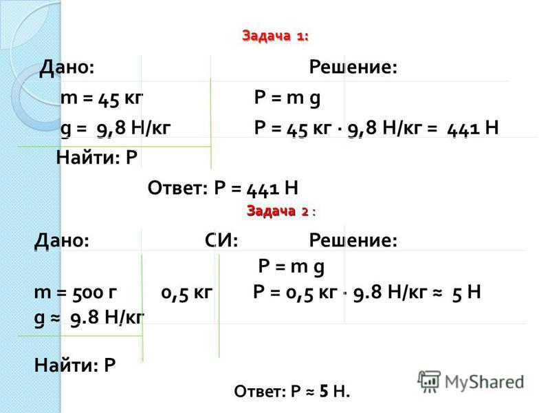 Задача 1: Дано : Решение : m = 45 кг P = m g g = 9,8 Н / кг P = 45 кг · 9,8 Н / кг = 441 Н Найти : P Ответ : Р = 441 Н Задача 2 : Дано : СИ : Решение : P = m g m = 500 г 0,5 кг P = 0,5 кг · 9.8 Н / кг 5 Н g 9.8 Н / кг Найти : P Ответ : Р 5 Н.