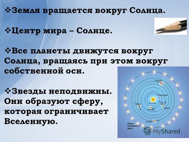 Земля вращается вокруг Солнца. Центр мира – Солнце. Все планеты движутся вокруг Солнца, вращаясь при этом вокруг собственной оси. Звезды неподвижны. Они образуют сферу, которая ограничивает Вселенную.