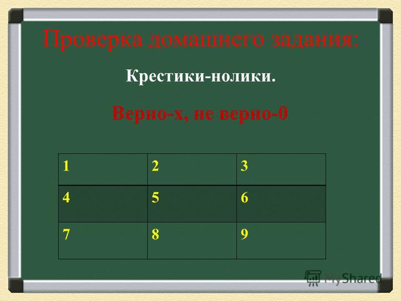 Проверка домашнего задания: Крестики-нолики. 123 456 789 Верно-х, не верно-0