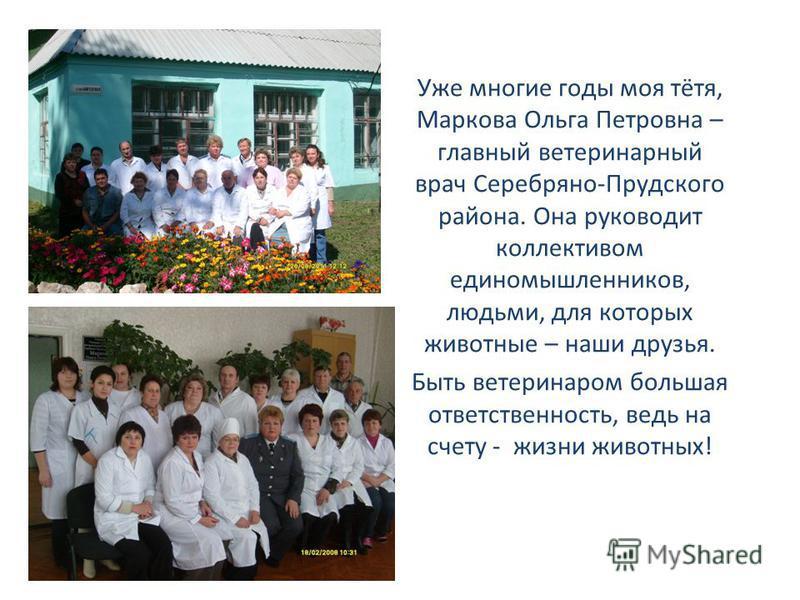 Уже многие годы моя тётя, Маркова Ольга Петровна – главный ветеринарный врач Серебряно-Прудского района. Она руководит коллективом единомышленников, людьми, для которых животные – наши друзья. Быть ветеринаром большая ответственность, ведь на счету -