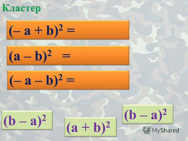 (a + b)2(a + b)2 (a + b)2(a + b)2 (– a + b) 2 = (b – a) 2 (a – b) 2 = (b – a) 2 (– a – b) 2 =