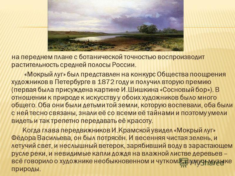 на переднем плане с ботанической точностью воспроизводит растительность средней полосы России. «Мокрый луг» был представлен на конкурс Общества поощрения художников в Петербурге в 1872 году и получил вторую премию (первая была присуждена картине И.Ши