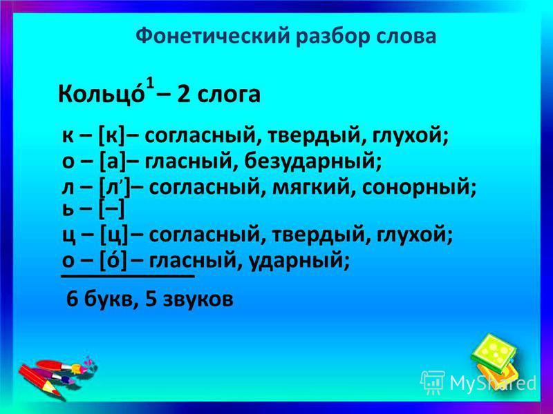 Фонетический разбор слова Кольцó 1 – 2 слога к – [к]– согласный, твердый, глухой; о – [а]– гласный, безударный; – согласный, мягкий, сонорный; – согласный, твердый, глухой; – гласный, ударный; л – [л, ] ь – [–] ц – [ц] о – [ó] 6 букв, 5 звуков