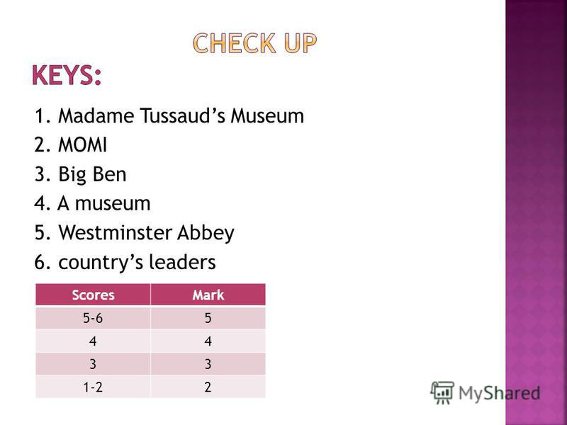1. Madame Tussauds Museum 2. MOMI 3. Big Ben 4. A museum 5. Westminster Abbey 6. countrys leaders ScoresMark 5-65 44 33 1-22