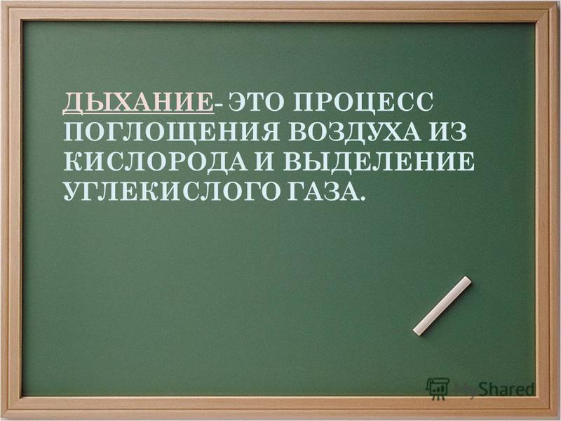 ДЫХАНИЕ- ЭТО ПРОЦЕСС ПОГЛОЩЕНИЯ ВОЗДУХА ИЗ КИСЛОРОДА И ВЫДЕЛЕНИЕ УГЛЕКИСЛОГО ГАЗА.