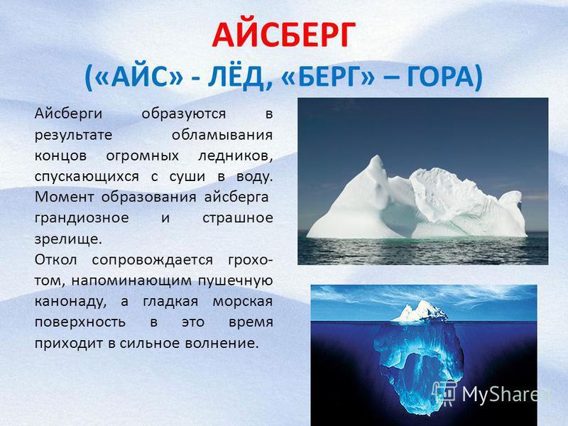 АЙСБЕРГ («АЙС» - ЛЁД, «БЕРГ» – ГОРА) Айсберги образуются в результате обламывания концов огромных ледников, спускающихся с суши в воду. Момент образования айсберга  грандиозное и страшное зрелище. Откол сопровождается грохо том, напоминающим пушечн