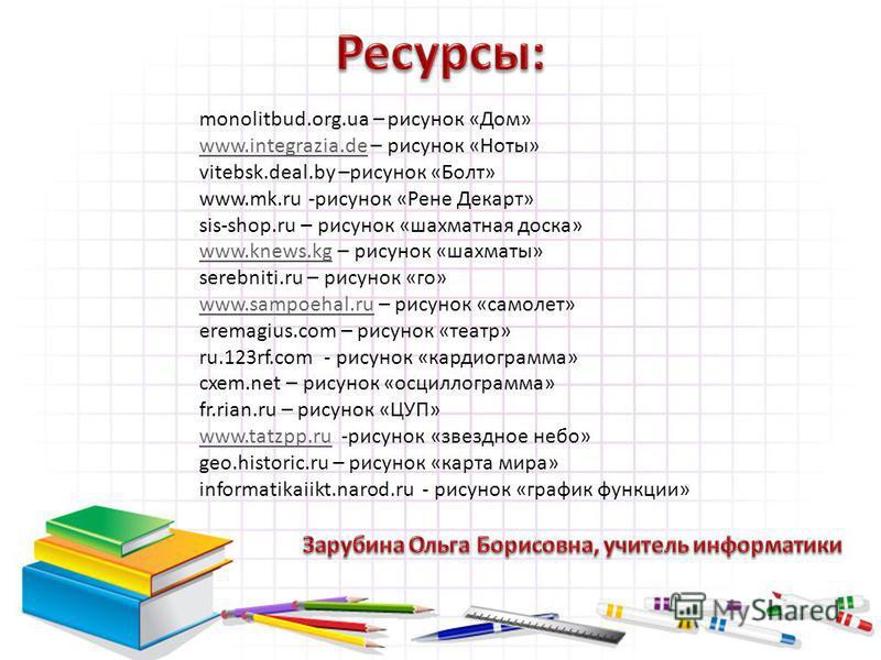 monolitbud.org.ua – рисунок «Дом» www.integrazia.dewww.integrazia.de – рисунок «Ноты» vitebsk.deal.by –рисунок «Болт» www.mk.ru -рисунок «Рене Декарт» sis-shop.ru – рисунок «шахматная доска» www.knews.kgwww.knews.kg – рисунок «шахматы» serebniti.ru –