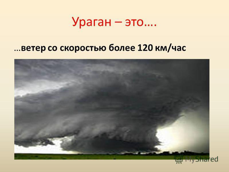 Ураган – это…. …ветер со скоростью более 120 км/час