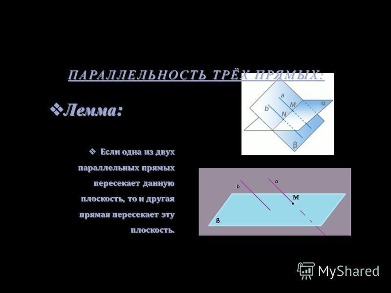 ПАРАЛЛЕЛЬНОСТЬ ТРЁХ ПРЯМЫХ : Лемма : Лемма : Если одна из двух параллельных прямых пересекает данную плоскость, то и другая прямая пересекает эту плоскость. Если одна из двух параллельных прямых пересекает данную плоскость, то и другая прямая пересек