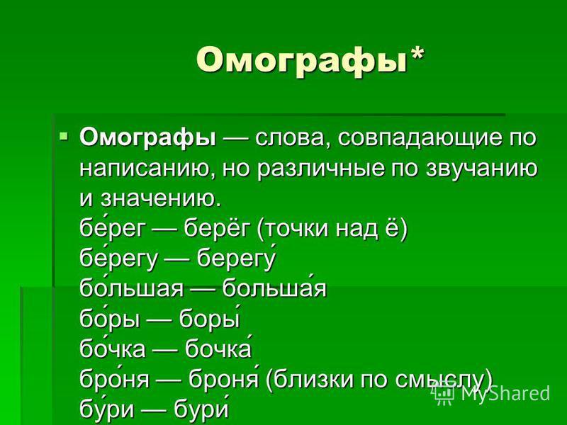 Омографы* Омографы* Омографы слова, совпадающие по написанию, но различные по звучанию и значению. бе́рег берёг (точки над ё) бе́регу берегу́ пой́лишая пойльша́я пой́ры пойры́ пой́чка пойчка́ бро́ня броня́ (близки по смыслу) бу́ри бури́ Омографы слов