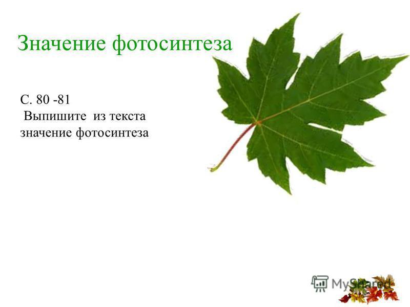Значение фотосинтеза С. 80 -81 Выпишите из текста значение фотосинтеза