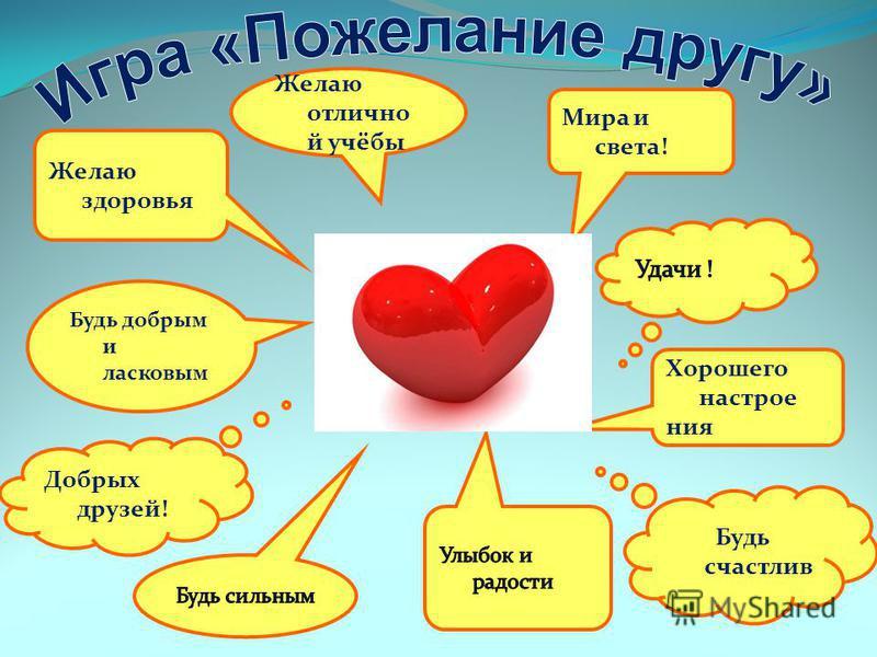 Желаю здоровья Желаю отличной учёбы Будь счастлив Добрых друзей! Будь добрым и ласковым Мира и света! Хорошего настроения