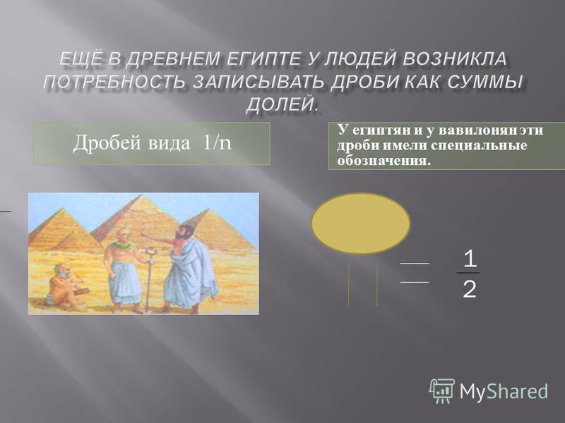 Дробей вида 1/n У египтян и у вавилонян эти дроби имели специальные обозначения. 1212