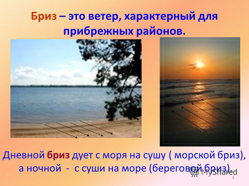 9 Бриз – это ветер, характерный для прибрежных районов. Дневной бриз дует с моря на сушу ( морской бриз), а ночной - с суши на море (береговой бриз).