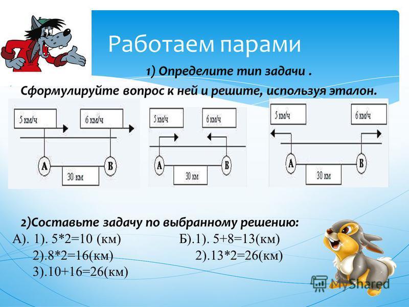 Работаем парами 1) Определите тип задачи. Сформулируйте вопрос к ней и решите, используя эталон. 2)Составьте задачу по выбранному решению: А). 1). 5*2=10 (км) Б).1). 5+8=13(км) 2).8*2=16(км) 2).13*2=26(км) 3).10+16=26(км)