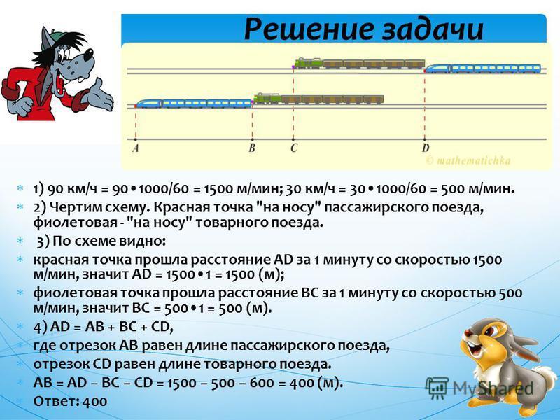 1) 90 км/ч = 901000/60 = 1500 м/мин; 30 км/ч = 301000/60 = 500 м/мин. 2) Чертим схему. Красная точка