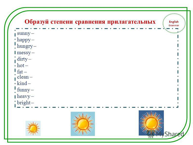English Grammar sunny – happy – hungry – messy – dirty – hot – fat – clean – kind – funny – heavy – bright – Образуй степени сравнения прилагательных