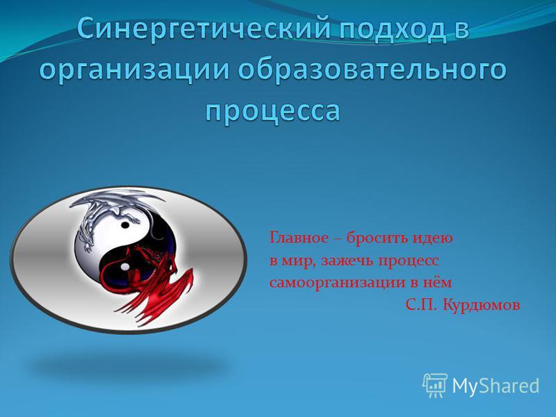 Главное – бросить идею в мир, зажечь процесс самоорганизации в нём С.П. Курдюмов