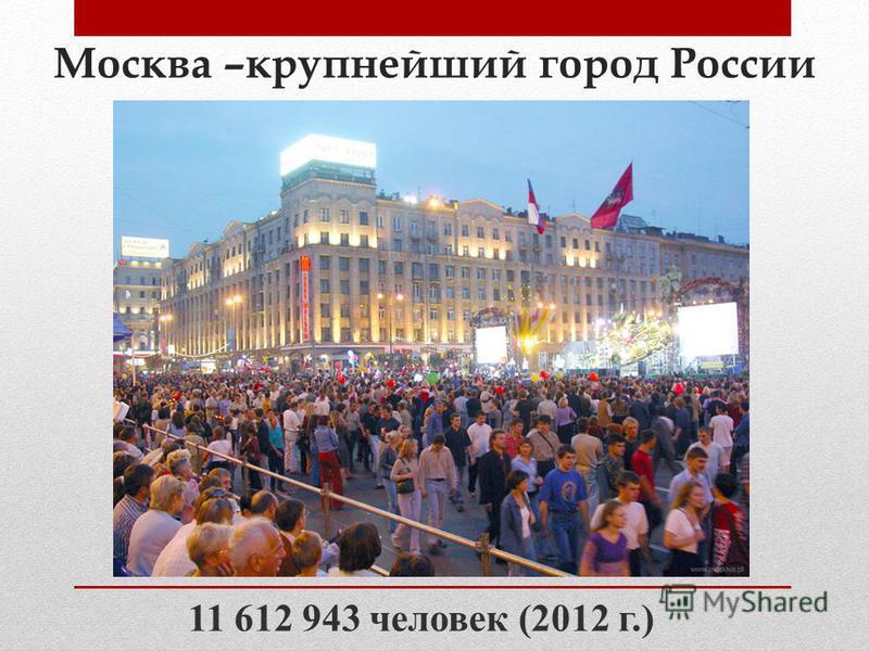 Москва –крупнейший город России 11 612 943 человек (2012 г.)