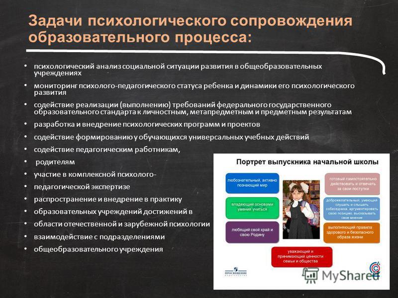 Задачи психологического сопровождения образовательного процесса: психологический анализ социальной ситуации развития в общеобразовательных учреждениях мониторинг психолого-педагогического статуса ребенка и динамики его психологического развития содей