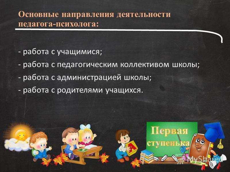 Основные направления деятельности педагога-психолога: - работа с учащимися; - работа с педагогическим коллективом школы; - работа с администрацией школы; - работа с родителями учащихся.