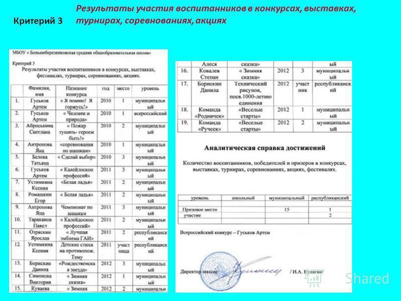Результаты участия воспитанников в конкурсах, выставках, турнирах, соревнованиях, акциях Критерий 3