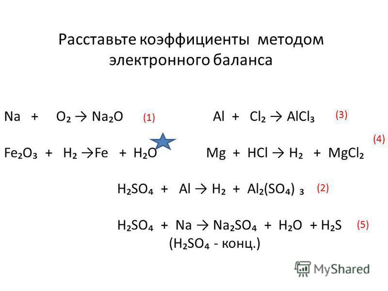 Na + O NaO Al + Cl AlCl FeO + H Fe + HO Mg + HCl H + MgCl HSO + Al H + Al(SO) HSO + Na NaSO + HO + HS (HSO - конц.) Расставьте коэффициенты методом электронного баланса (1) (2) (3) (4) (5)